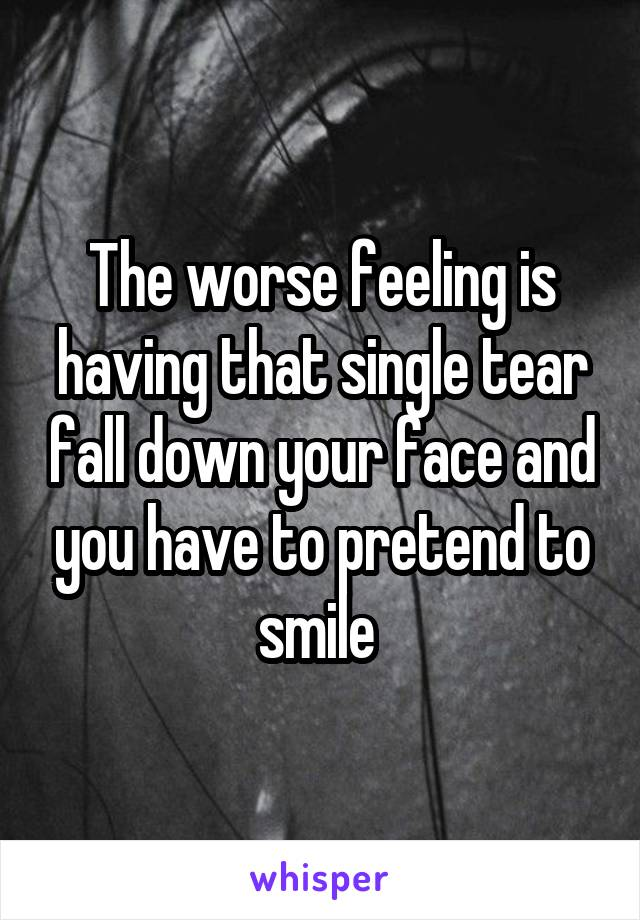 The worse feeling is having that single tear fall down your face and you have to pretend to smile
