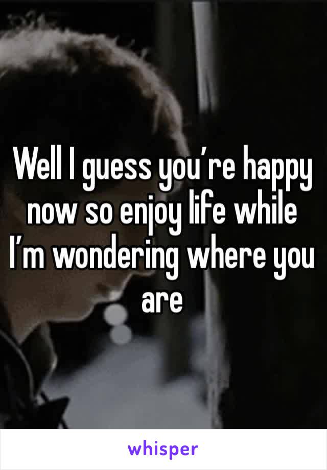 Well I guess you're happy now so enjoy life while I'm wondering where you are