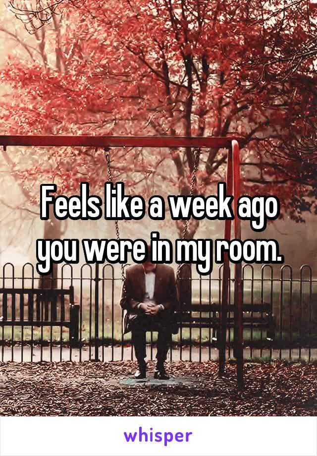 Feels like a week ago you were in my room.