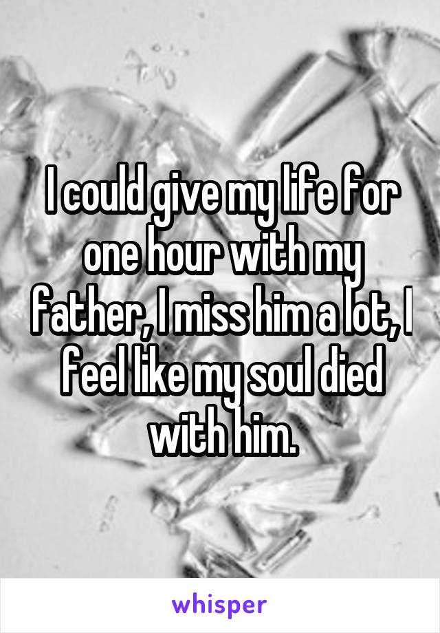 I could give my life for one hour with my father, I miss him a lot, I feel like my soul died with him.