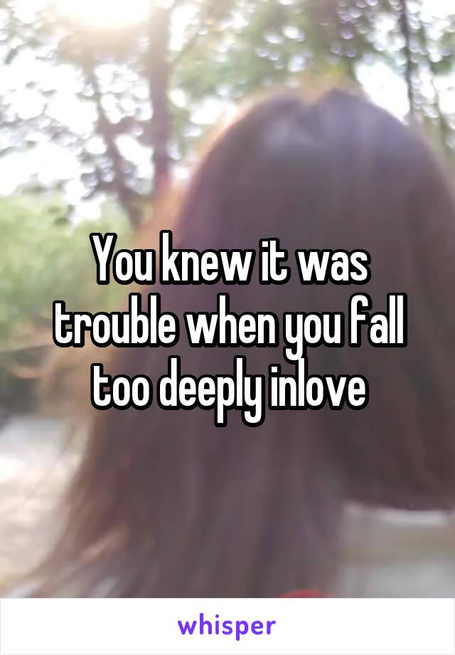 You knew it was trouble when you fall too deeply inlove