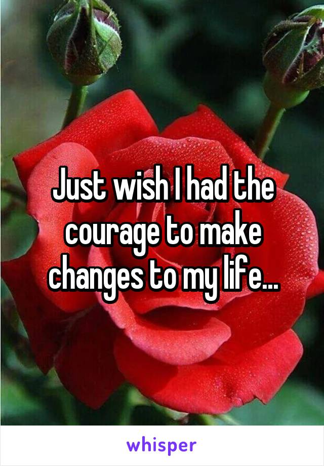 Just wish I had the courage to make changes to my life...