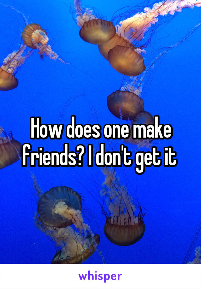 How does one make friends? I don't get it