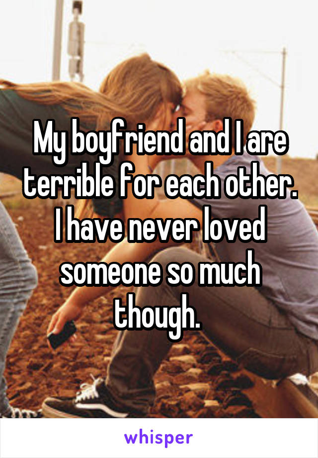 My boyfriend and I are terrible for each other. I have never loved someone so much though.