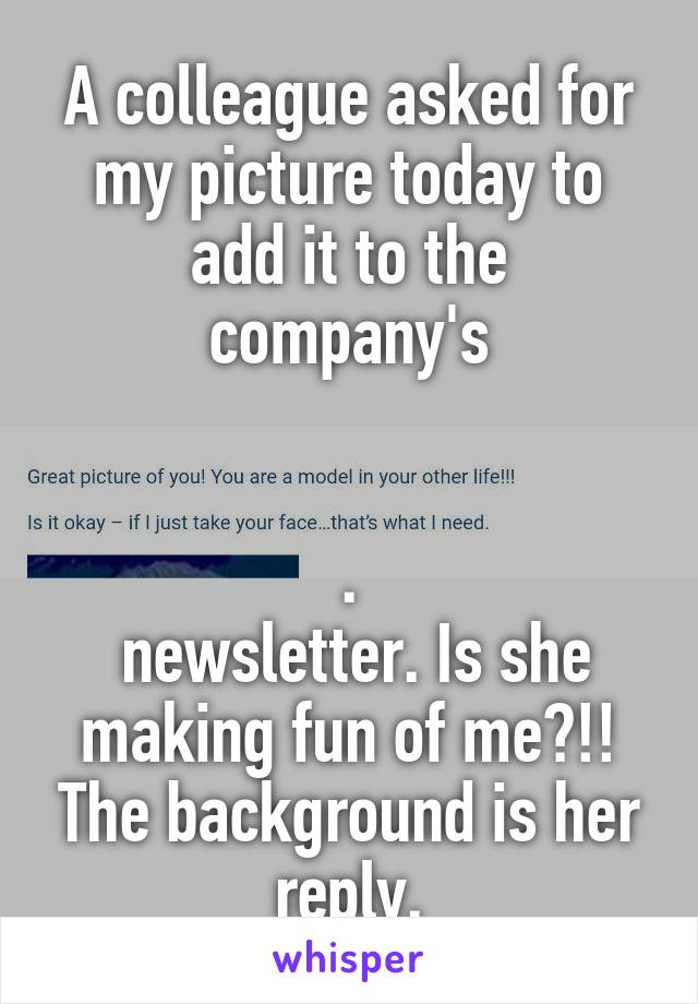 A colleague asked for my picture today to add it to the company's   .  newsletter. Is she making fun of me?!! The background is her reply.