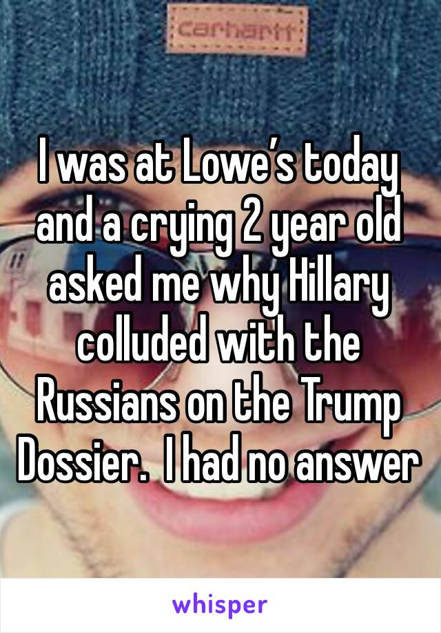 I was at Lowe's today and a crying 2 year old asked me why Hillary colluded with the Russians on the Trump Dossier.  I had no answer