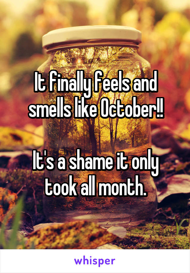 It finally feels and smells like October!!  It's a shame it only took all month.