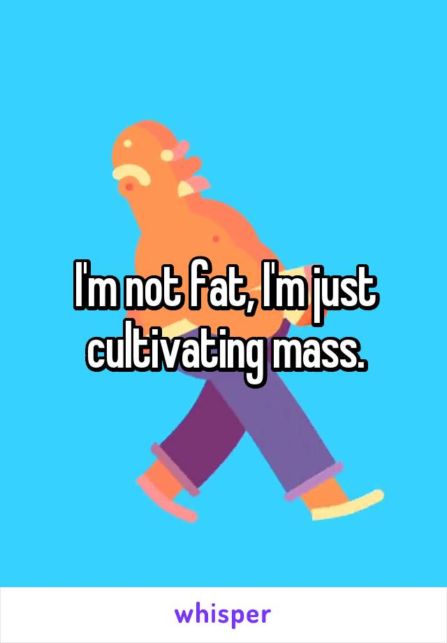 I'm not fat, I'm just cultivating mass.