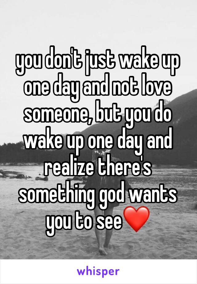 you don't just wake up one day and not love someone, but you do wake up one day and realize there's something god wants you to see❤️
