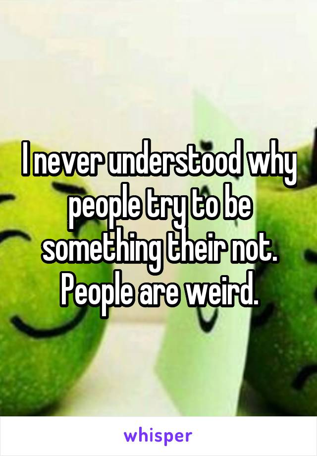 I never understood why people try to be something their not. People are weird.
