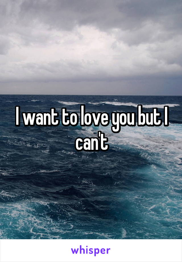 I want to love you but I can't