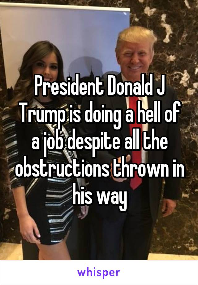President Donald J Trump is doing a hell of a job despite all the obstructions thrown in his way
