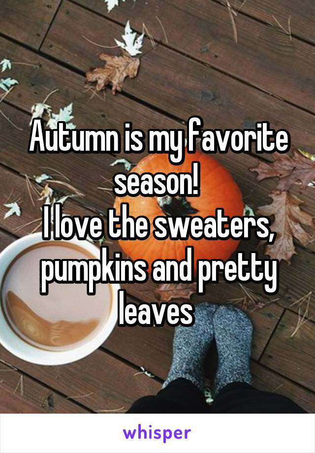 Autumn is my favorite season!  I love the sweaters, pumpkins and pretty leaves