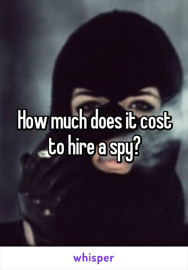How much does it cost to hire a spy?