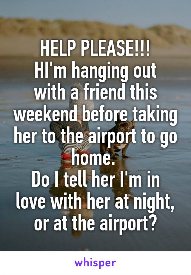 HELP PLEASE!!! HI'm hanging out with a friend this weekend before taking her to the airport to go home.  Do I tell her I'm in love with her at night, or at the airport?