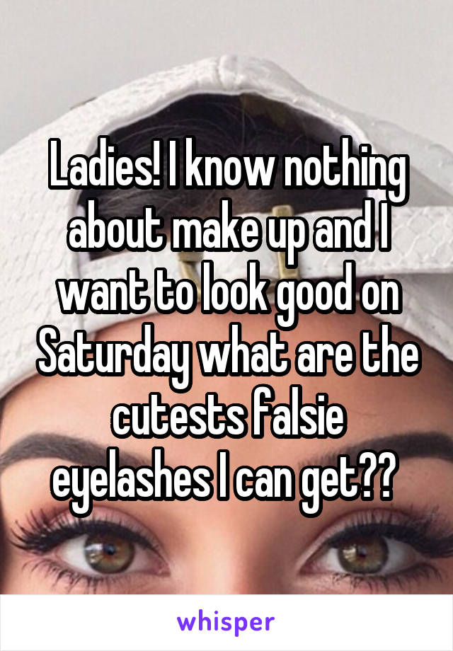 Ladies! I know nothing about make up and I want to look good on Saturday what are the cutests falsie eyelashes I can get??