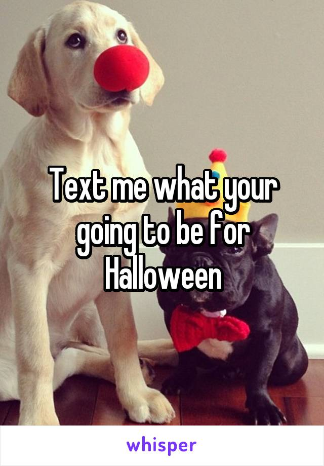 Text me what your going to be for Halloween