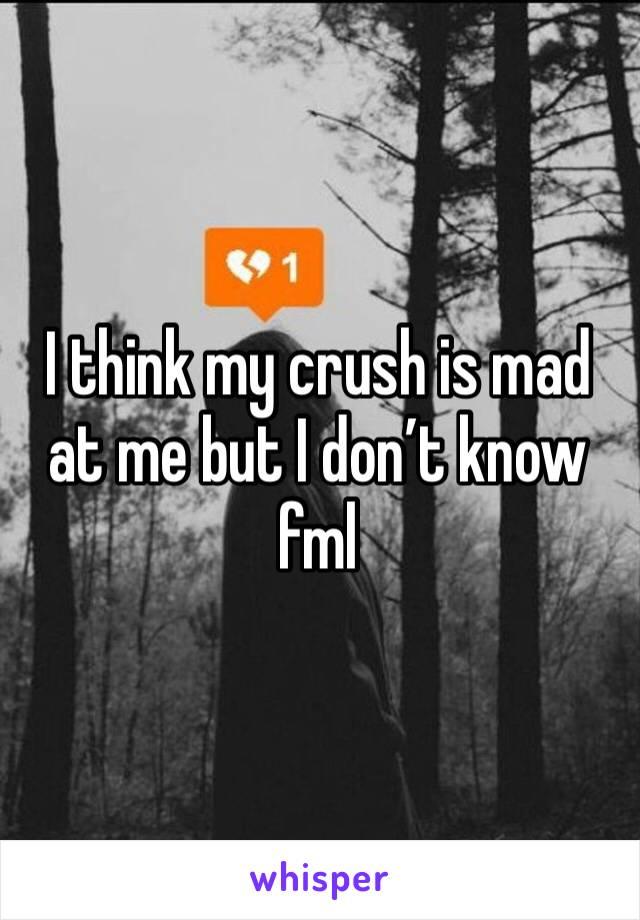 I think my crush is mad at me but I don't know fml