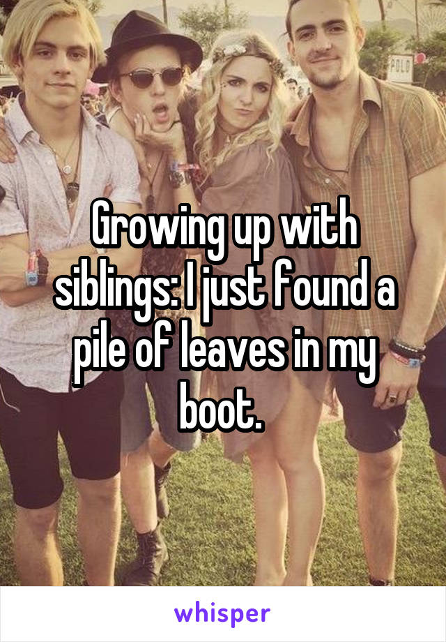 Growing up with siblings: I just found a pile of leaves in my boot.