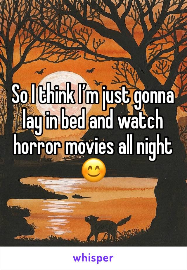 So I think I'm just gonna lay in bed and watch horror movies all night 😊