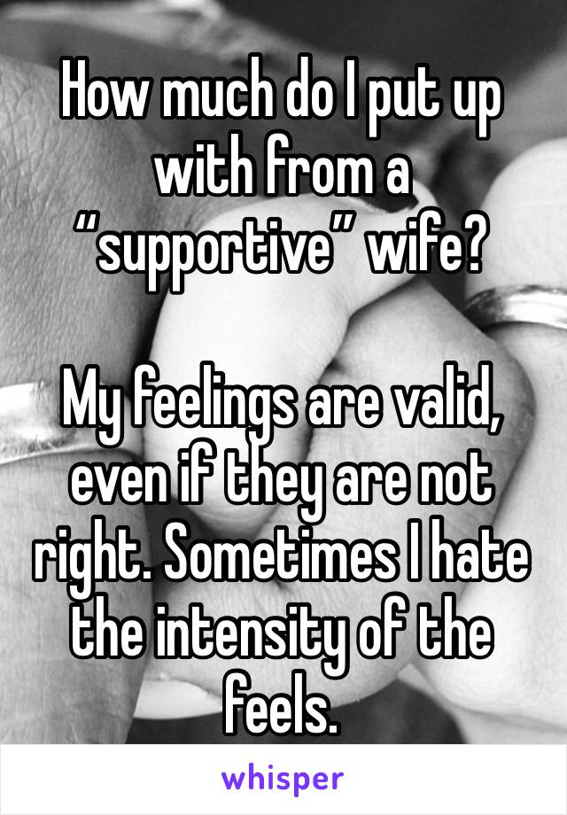 """How much do I put up with from a """"supportive"""" wife?  My feelings are valid, even if they are not right. Sometimes I hate the intensity of the feels."""