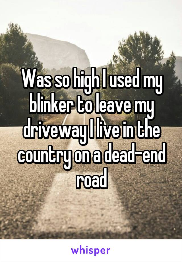 Was so high I used my blinker to leave my driveway I live in the country on a dead-end road