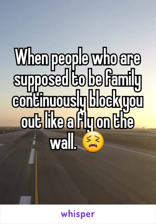 When people who are supposed to be family continuously block you out like a fly on the wall. 😣
