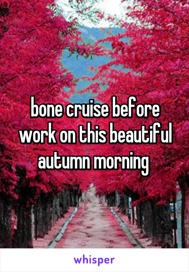bone cruise before work on this beautiful autumn morning