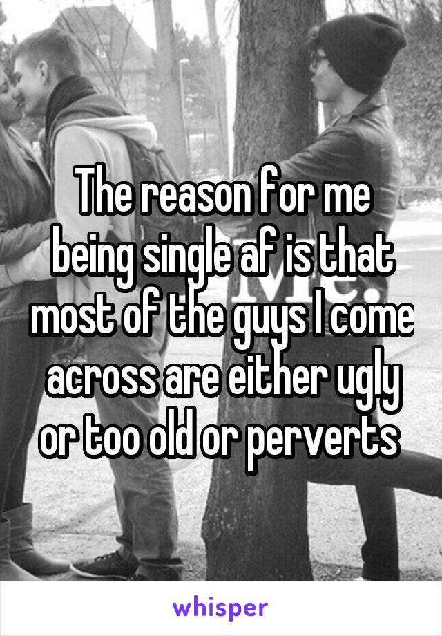 The reason for me being single af is that most of the guys I come across are either ugly or too old or perverts