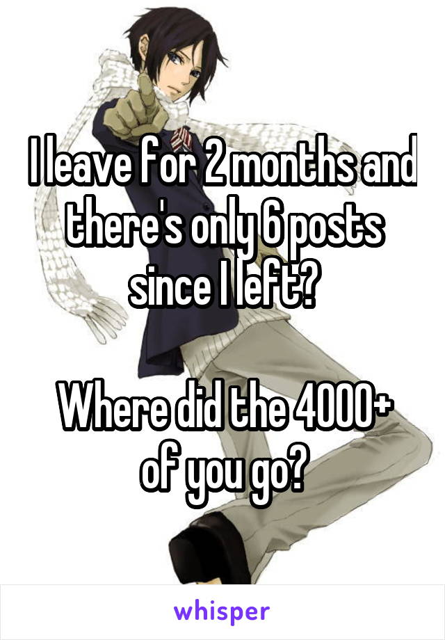 I leave for 2 months and there's only 6 posts since I left?  Where did the 4000+ of you go?