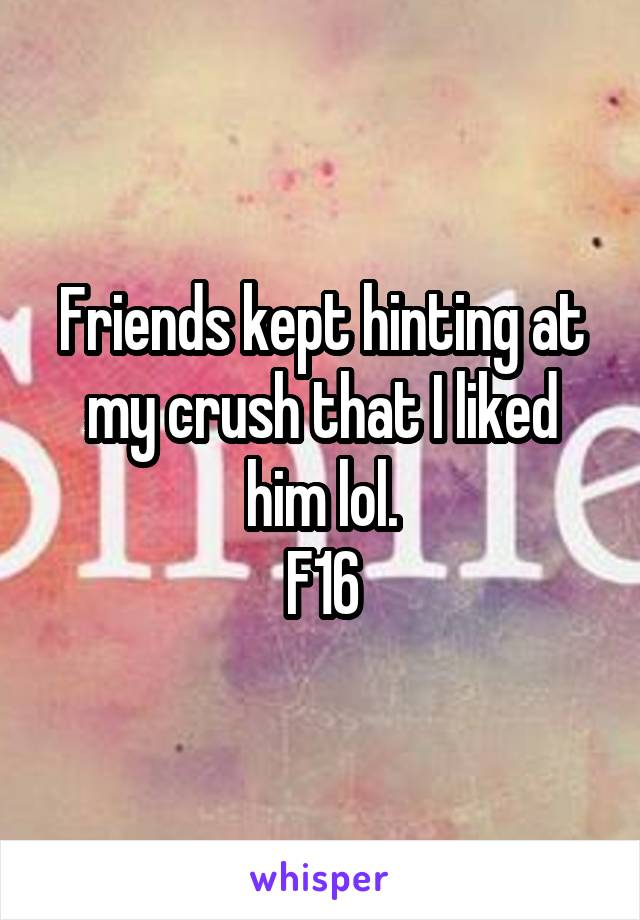 Friends kept hinting at my crush that I liked him lol. F16