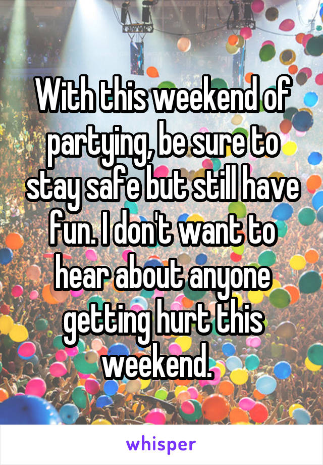 With this weekend of partying, be sure to stay safe but still have fun. I don't want to hear about anyone getting hurt this weekend.