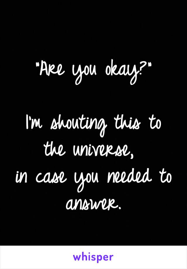 """""""Are you okay?""""  I'm shouting this to the universe,  in case you needed to answer."""