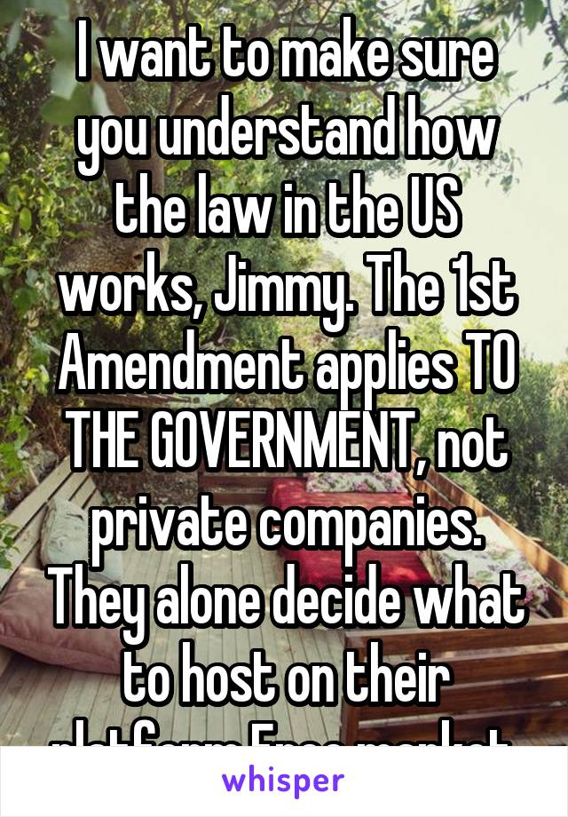 I want to make sure you understand how the law in the US works, Jimmy. The 1st Amendment applies TO THE GOVERNMENT, not private companies. They alone decide what to host on their platform.Free market.