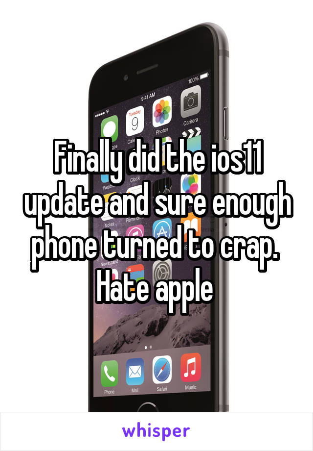 Finally did the ios11 update and sure enough phone turned to crap.  Hate apple