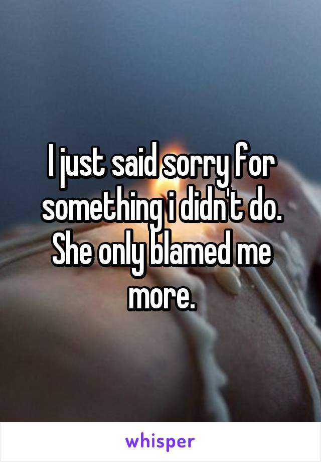 I just said sorry for something i didn't do. She only blamed me more.