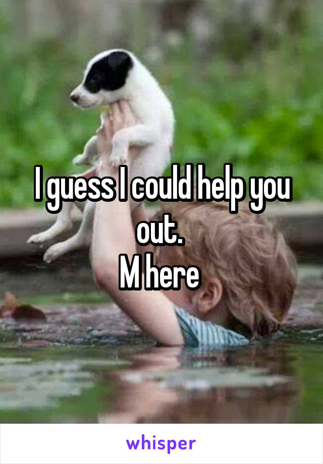 I guess I could help you out.  M here