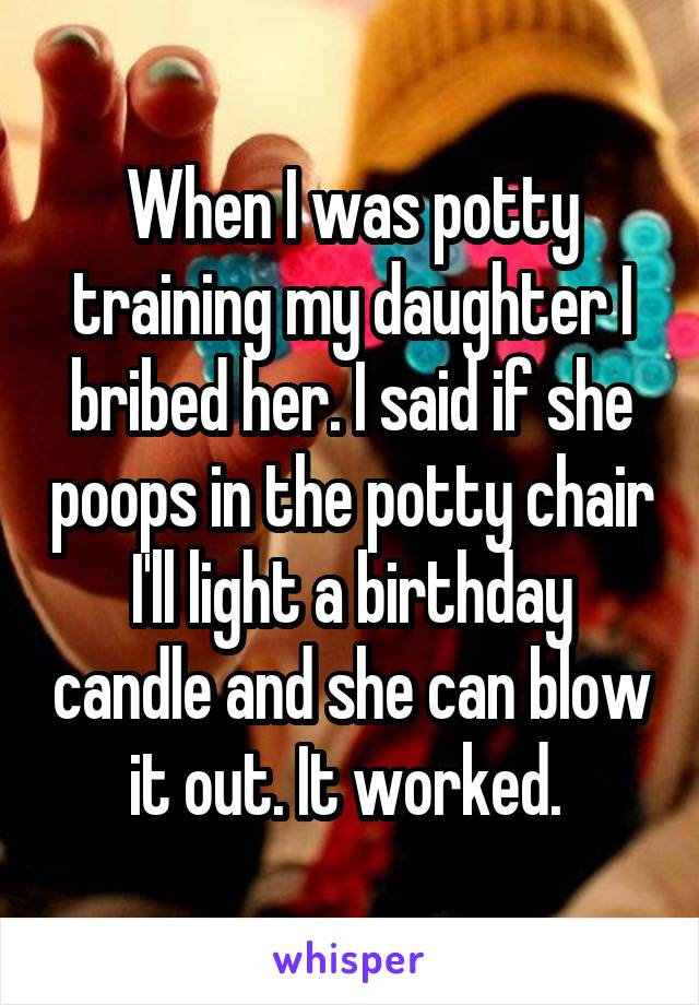When I was potty training my daughter I bribed her. I said if she poops in the potty chair I'll light a birthday candle and she can blow it out. It worked.