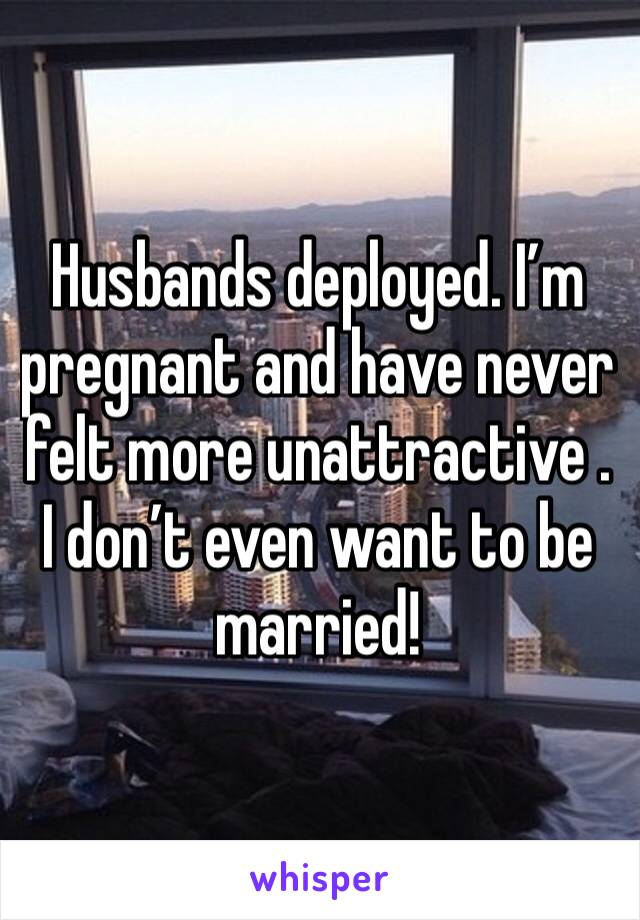 Husbands deployed. I'm pregnant and have never felt more unattractive . I don't even want to be married!