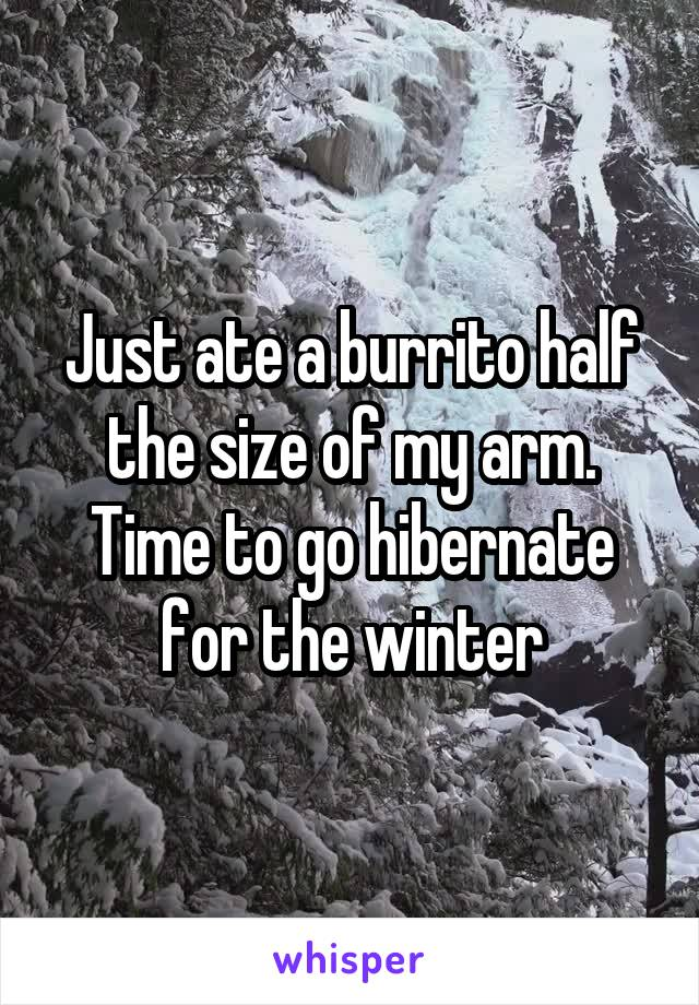 Just ate a burrito half the size of my arm. Time to go hibernate for the winter