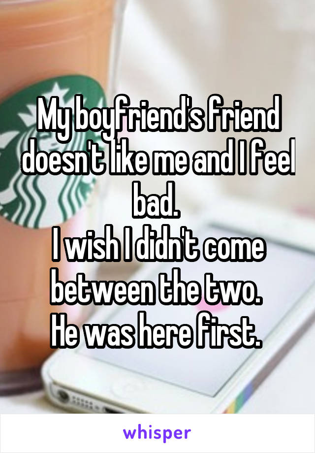 My boyfriend's friend doesn't like me and I feel bad.  I wish I didn't come between the two.  He was here first.