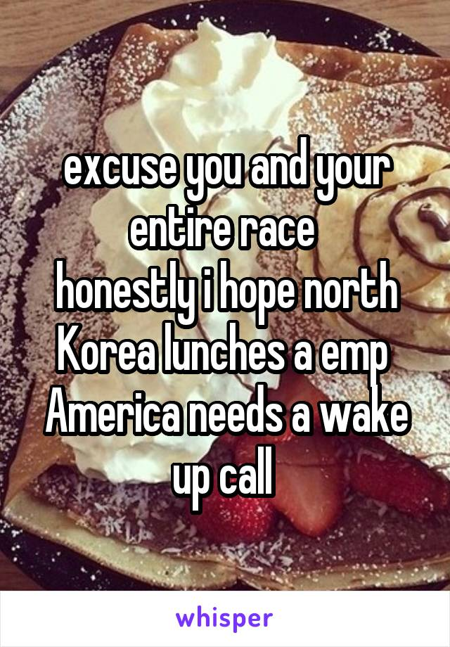 excuse you and your entire race  honestly i hope north Korea lunches a emp  America needs a wake up call