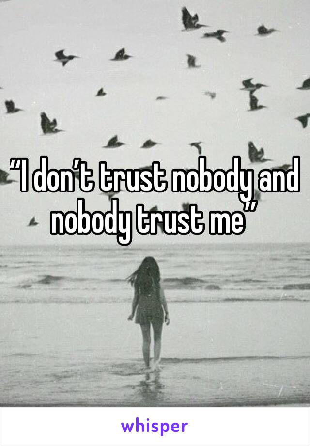 """""""I don't trust nobody and nobody trust me"""""""