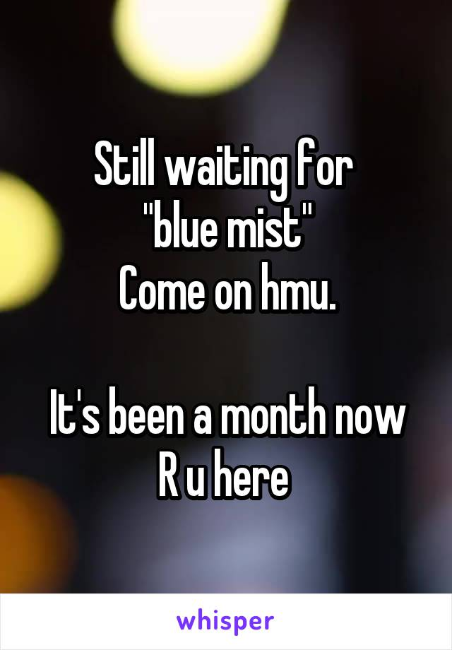 "Still waiting for   ""blue mist""  Come on hmu.  It's been a month now R u here"