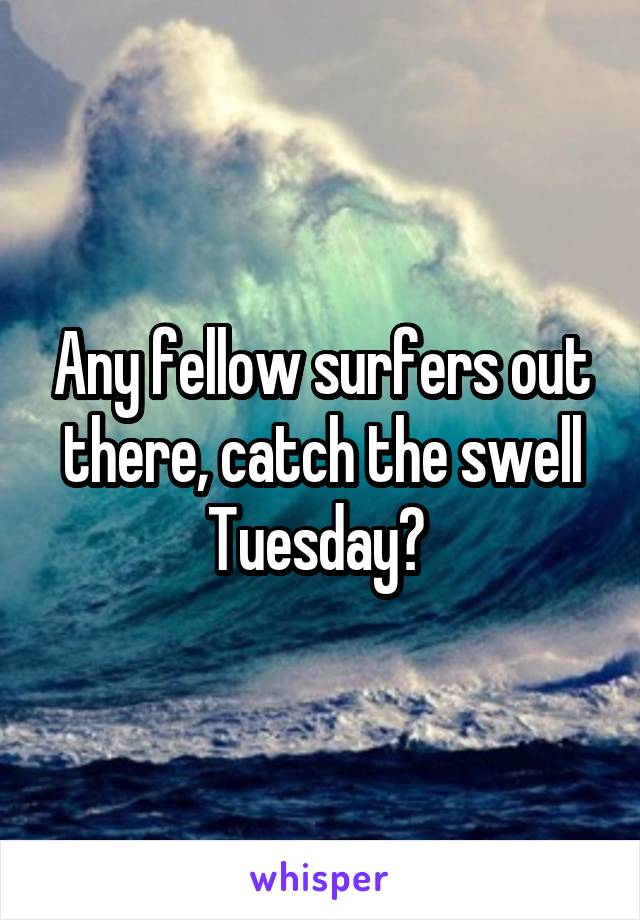 Any fellow surfers out there, catch the swell Tuesday?