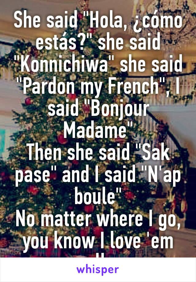 "She said ""Hola, ¿cómo estás?"" she said ""Konnichiwa"" she said ""Pardon my French"", I said ""Bonjour Madame"" Then she said ""Sak pase"" and I said ""N'ap boule"" No matter where I go, you know I love 'em all."