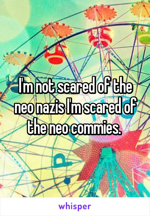 I'm not scared of the neo nazis I'm scared of the neo commies.