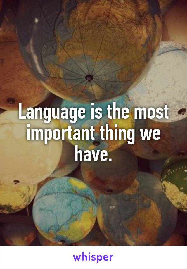 Language is the most important thing we have.