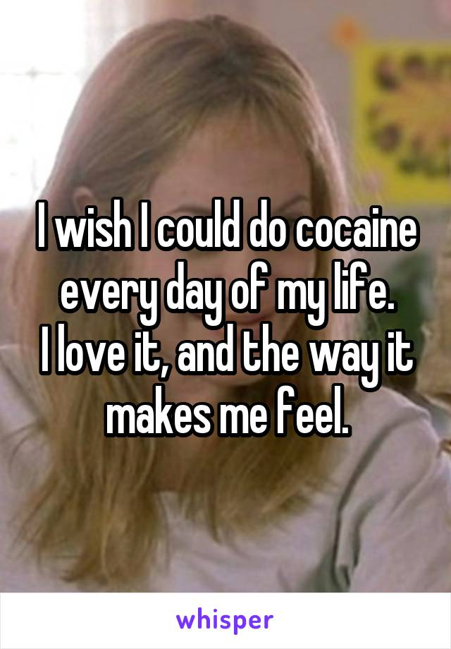 I wish I could do cocaine every day of my life. I love it, and the way it makes me feel.