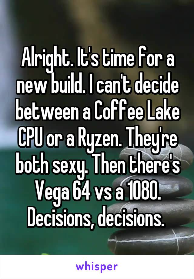 Alright. It's time for a new build. I can't decide between a Coffee Lake CPU or a Ryzen. They're both sexy. Then there's Vega 64 vs a 1080. Decisions, decisions.